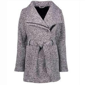 Light Gray Heather Fleece Wrap Coat